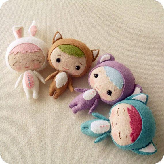 Binky Boo PDF Pattern: Stuffed Toys, Binki Boo, Crafts Ideas, Felt Dolls Patterns, Felt Crafts, Cute Dolls, Boo Pdf, Ginger Melon Dolls, Pdf Patterns