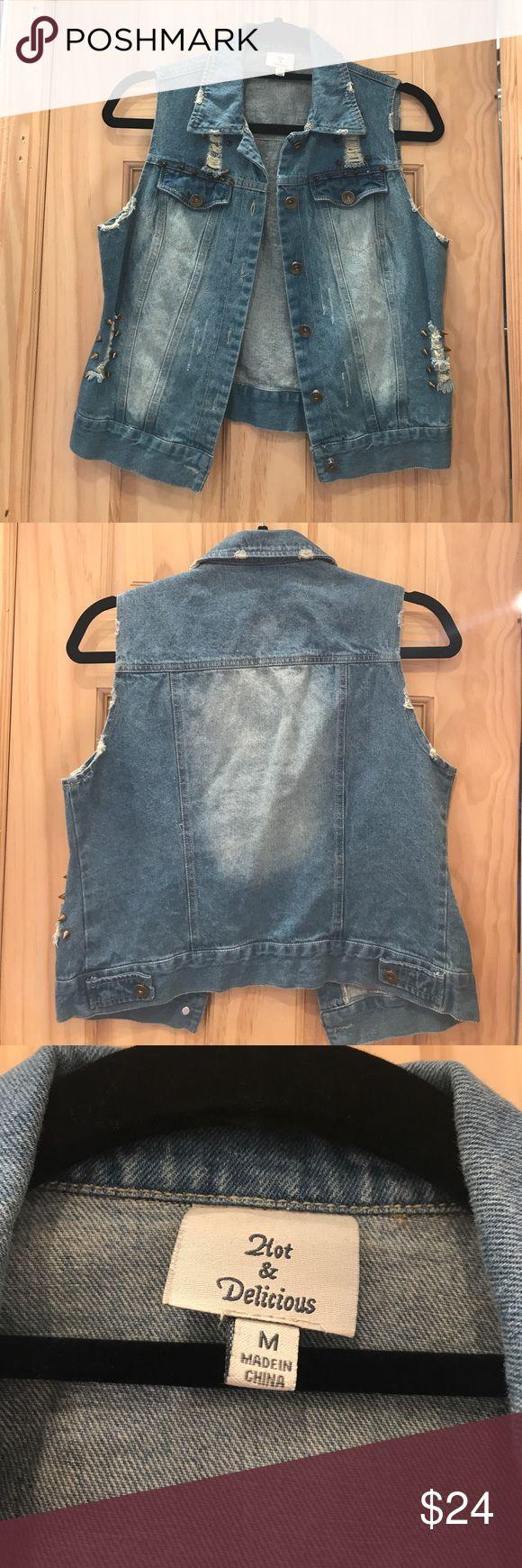 Destroyed Studded Denim Vest Destroyed Studded Denim Vest- New without tags Hot & Delicious Jackets & Coats Vests