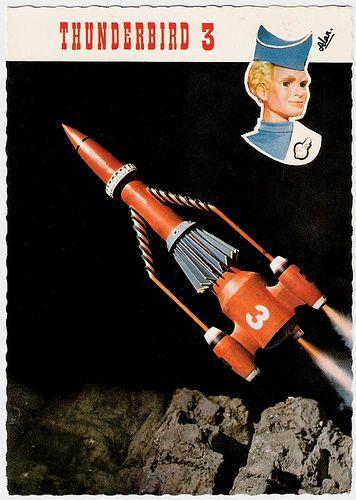 Thunderbird 3, Alan. Dutch postcard by Vita Nova, Schiedam, no. B/10/41. Sent by mail in 1967. Photo: A.P. Films, London / Coliseum, London, 1965. Caption: Thunderbird 3 met piloot Alan Tracy (Thunderbird 3, with pilot Alan Tracy).