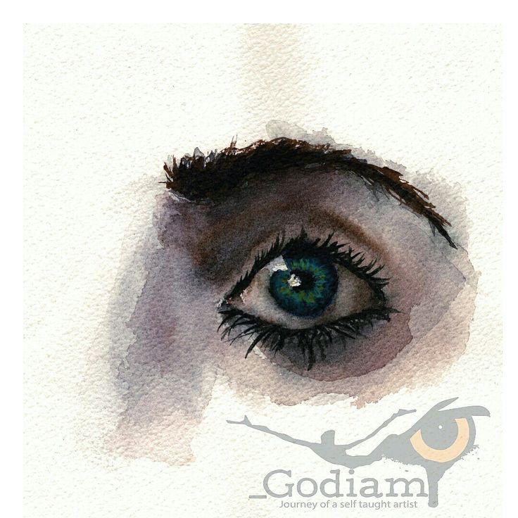 Watercolour sketch of an eye.