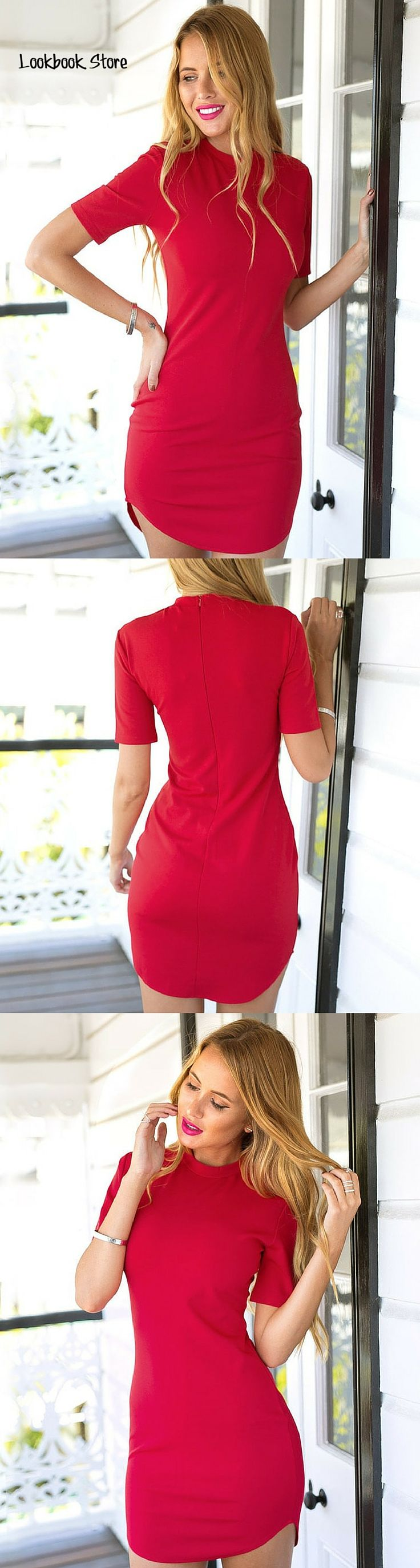Lookbook Store Amazon // Let your romantic side out. And while you're at it, wear this red curved-hem bodycon dress as you go on a mushy date with your man along with candles and a good wine.