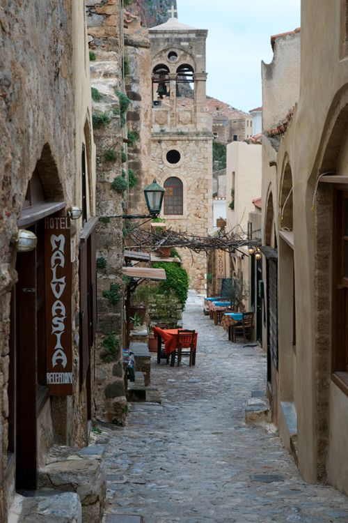 An alley in Monemvasia, Greece  by George Koultouridis