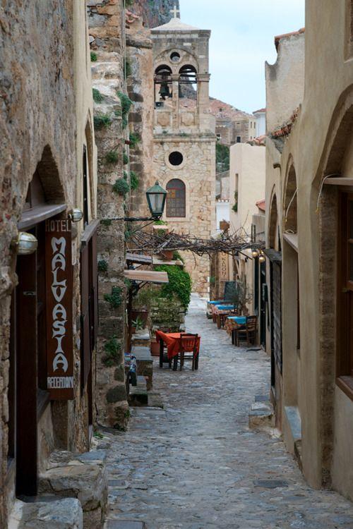 An alley in Monemvasia, Greece  by George Koultouridis