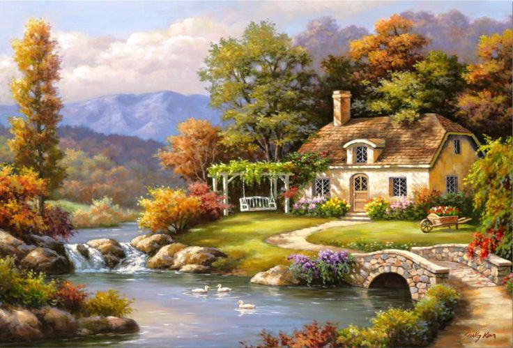 Cottage Stream - Counted cross stitch pattern in PDF format by Maxispatterns on Etsy