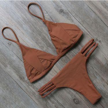Brown Strappy Bikini Set