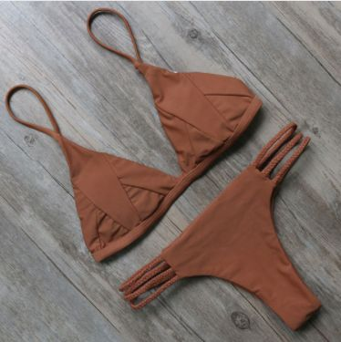 Brown bikini set Triple strap bottoms Please allow 2-3 weeks for delivery due to popularity.