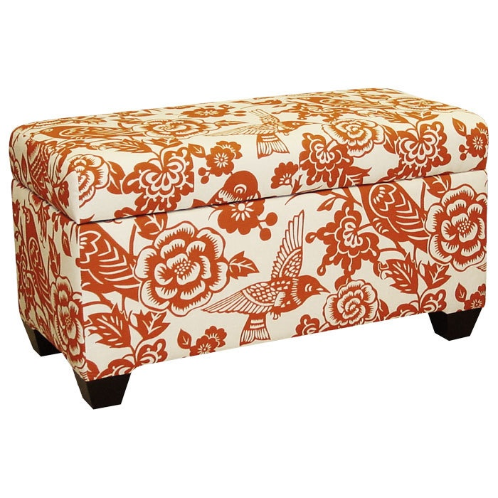 Canary Storage Bench in Tangerine