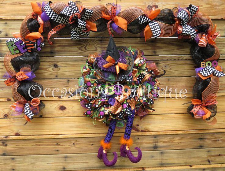 Halloween Wreath with Door Garland, Halloween Decoration, Door Hanger, Wreath with Matching Garland, Front door wreath, Wreath for door by OccasionsBoutique on Etsy