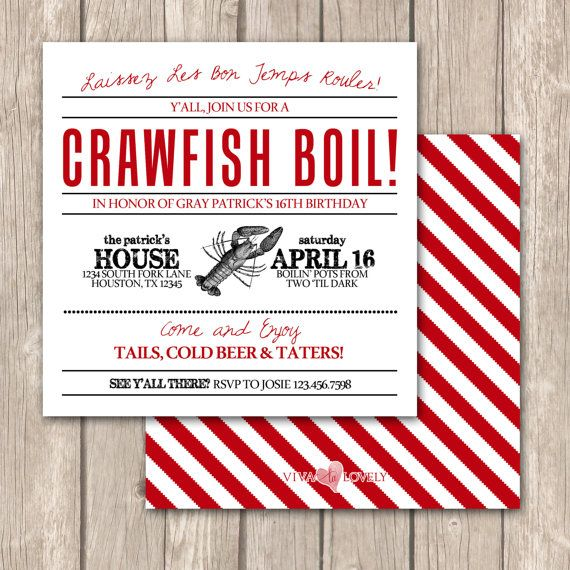 Cajun Crawfish Boil InvitationsUnique Crawfish by VivaLaLovely