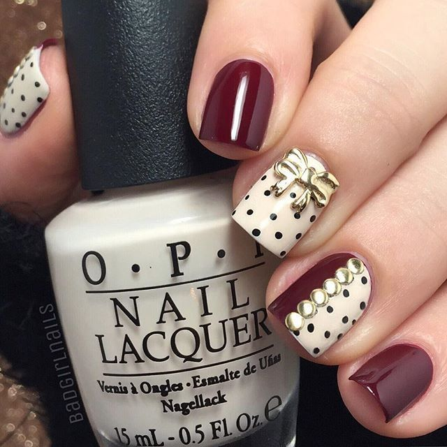 Bow & Dots nail art #dotticure … Pretty and Trendy Nail Art Designs 2016 . | Fashion Te