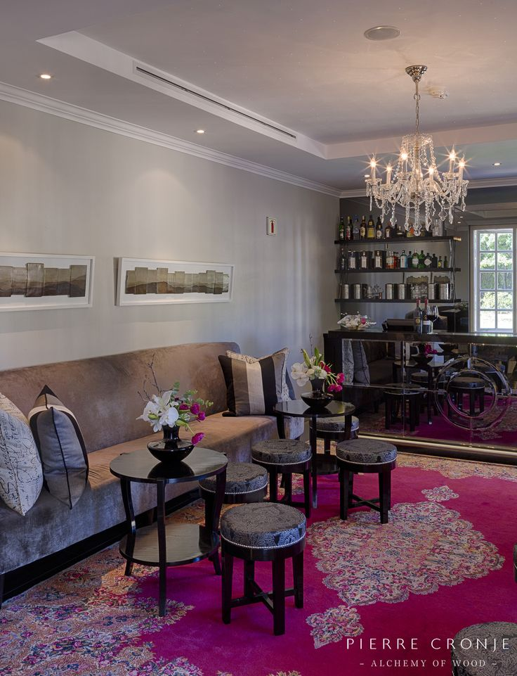 The Bar area at the Camphors restaurant at Vergelegen in Somerset West, South Africa. Interior design by Christiaan Barnard, solid wood furnishings and shopfitting by Pierre Cronje