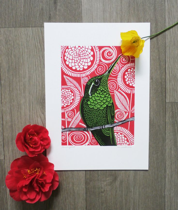 Hummingbird, by Kat Lendacka, Original Linocut Print, Signed Open Edition, Free Postage in UK, Hand Pulled, Printmaking, by KatLendacka on Etsy