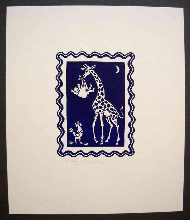 Linocut, Giraffe with baby