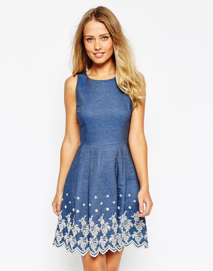 Bild 1 von Oasis – Chambray-Kleid mit Lochstickerei am Saum