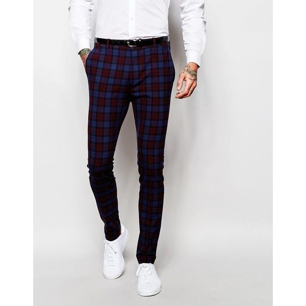 ASOS Skinny Suit Trouser in Tartan Check featuring polyvore, men's fashion, men's clothing, men's pants, men's dress pants, multi, mens tartan pants, mens zipper pants, mens polyester pants, mens skinny suit pants and mens plaid pants