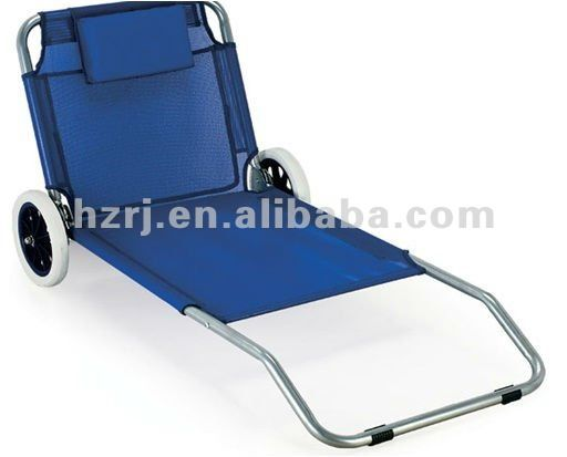 Low seat folding beach chair with wheel