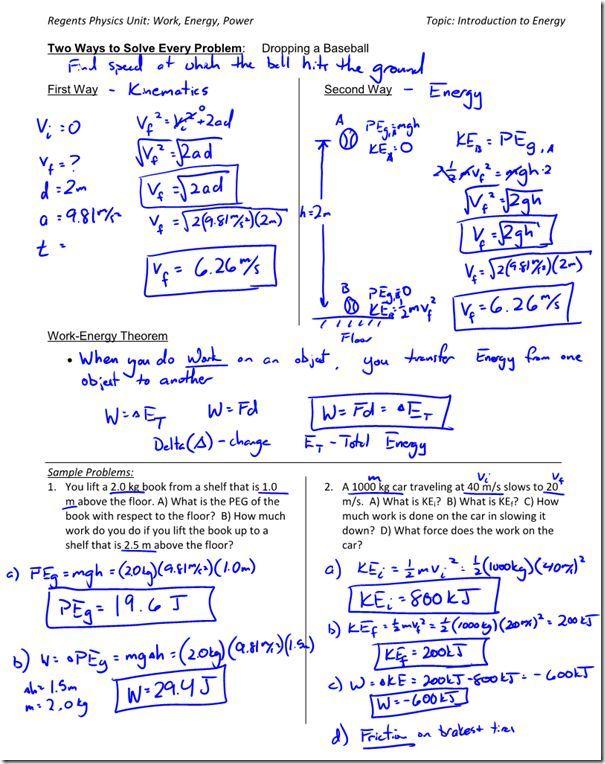 19 Work Energy Theorem Worksheet Answers