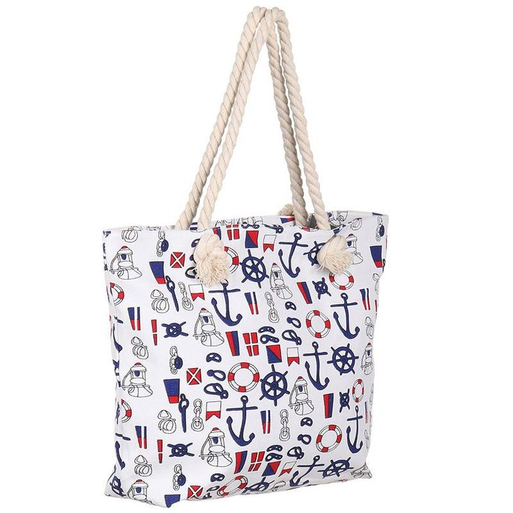 Ocean Inspired Print Large Canvas Beach Bag