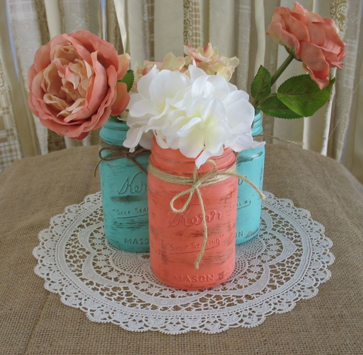 Mason Jars, Ball jars, Painted Mason Jars, Flower Vases, Rustic Wedding Centerpieces, turquoise and coral mason jars. $24.00, via Etsy.