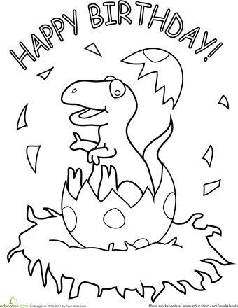 Worksheets: Happy Birthday Dinosaur!