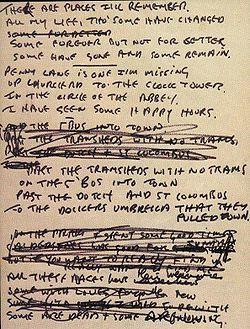 The Beatles' handwritten lyrics: In My Life, by John Lennon