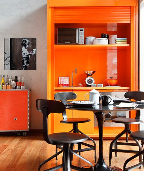 Gorgeous pop of colour: Kitchens, Orange Kitchen, Decor, Dining Room, Interior, Color, Kitchen Design, Bright Orange, Kitchen