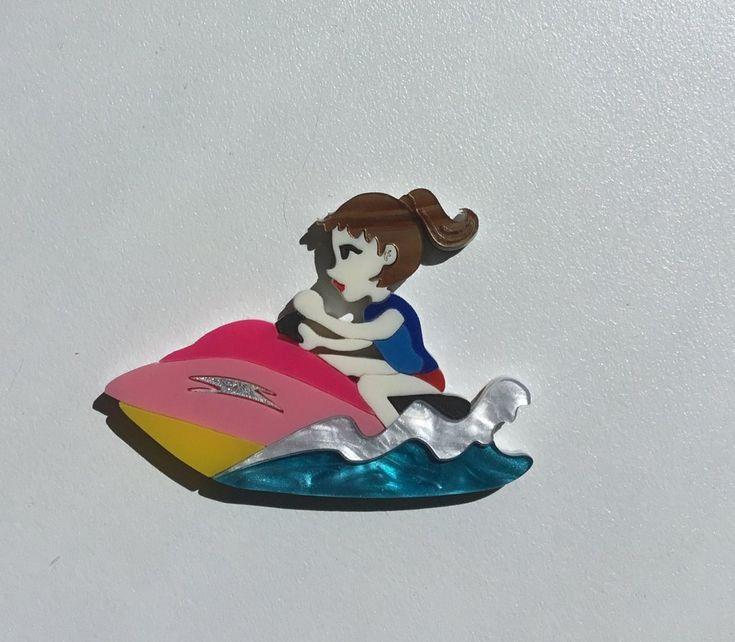Jenny on a JetSki Brooch