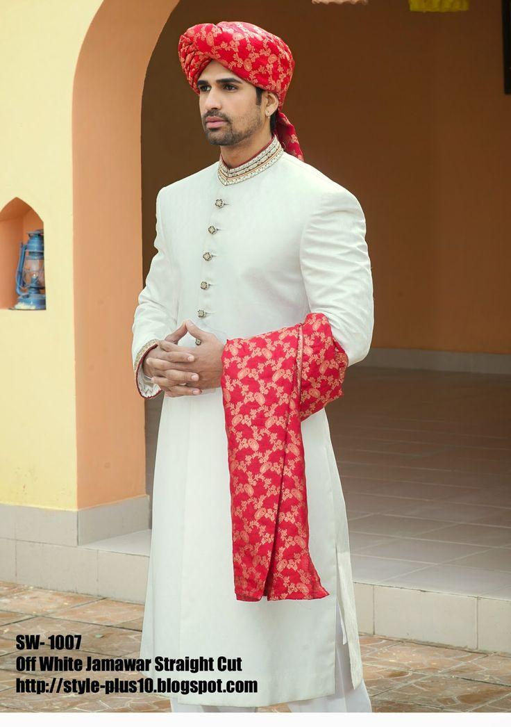 Off White Jamawar Straight Cut Sherwani with bright red headgear