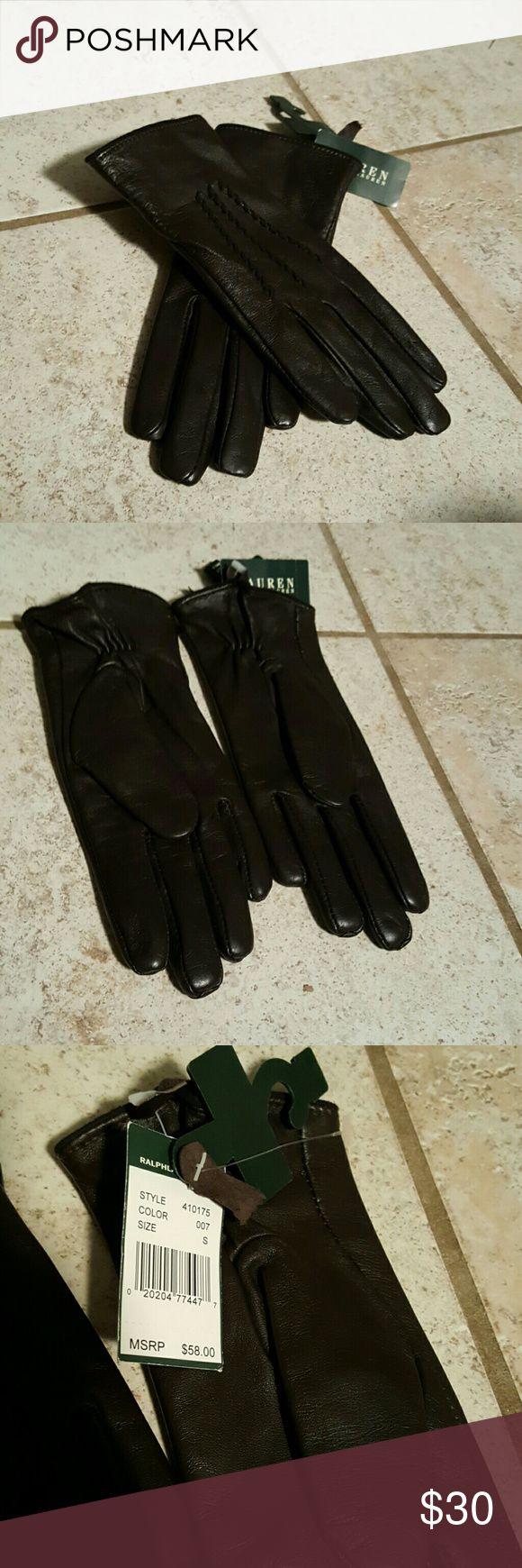 Ralph Lauren leather gloves New never been worn. Size small. Ralph Lauren brown leather gloves. Lauren Ralph Lauren Accessories Gloves & Mittens