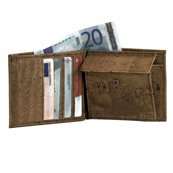Mens Trifold Wallet Vegan Wallet made from Cork Coins by Corkor, $59.00