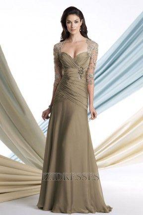 A-Linie/Princess-Linie Asymmetrisch Bodenlang Chiffon Taft Brautmutterkleider