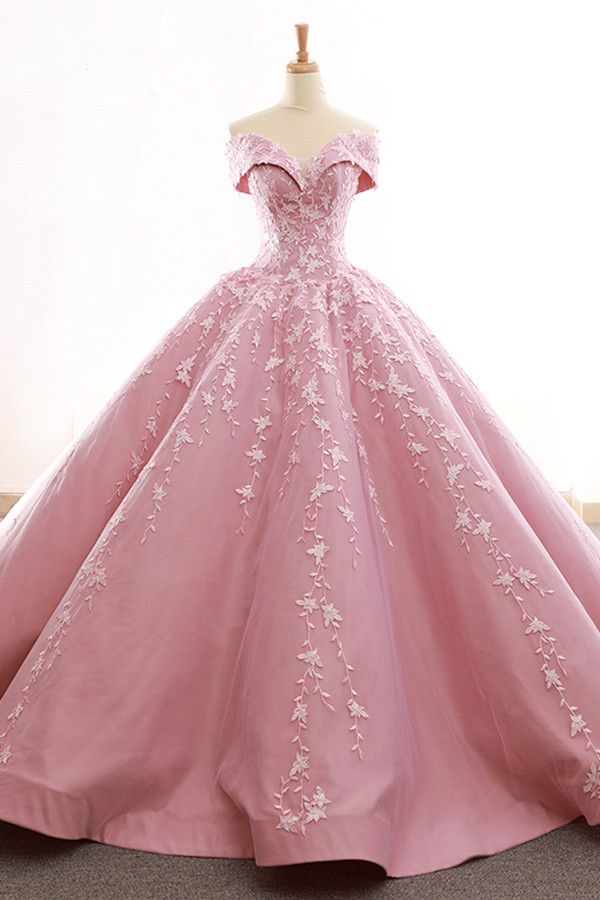 ea708b2a8b Gorgeous Tulle   Satin Off-the-shoulder Neckline Ball Gown Wedding Dresses  With Lace Appliques