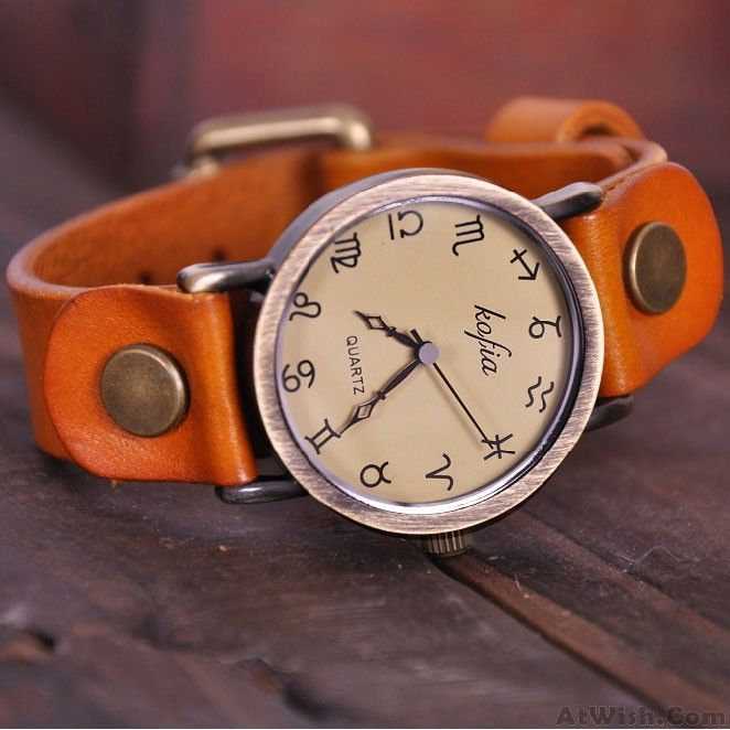 Wow~ Awesome Retro Constellation Symbol Leather Watch! It only $29.9 at www.AtWish.com! I like it so much<3<3!