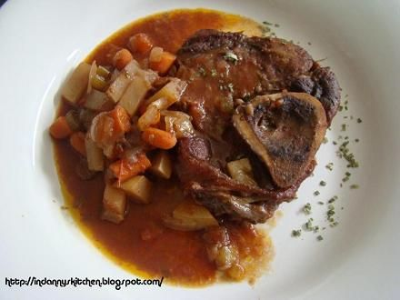 Osso Bucco - Veal shanks or veal leg cut across the bone slowly braised to perfection.