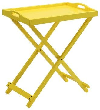 Folding Tray Table in Yellow transitional-tv-trays