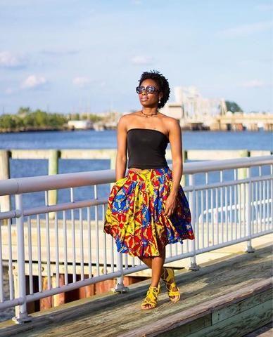 Lamine African Midi Skirt