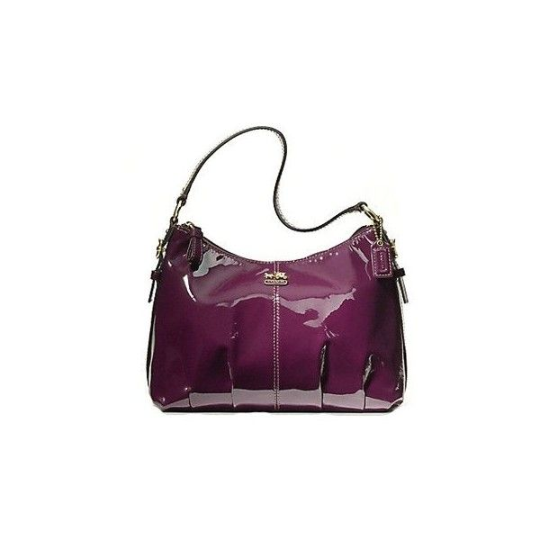 Coach Madison Patent Leather Demi Shoulder Bag Purse Tote 46619 Plum ($170) found on Polyvore