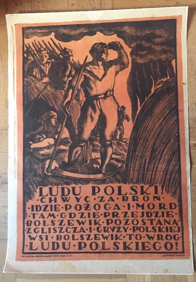 Poster Affiche Ancienne Originale Pologne Bolchevisme  1920 Felicjan Szczęsny Ko