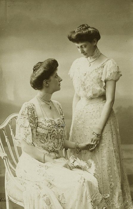 Danish sisters : Princess Ingeborg and Thyra of Denmark, daughters of Frederik VIII of denmark and consort, Queen Lovisa, neé Pss of Sweden,      Ingeborg became, by marriage, duchess of Vastergotland and was mother of Queen Astrid of Belgium and crownprincess Martha of Norway.  Image from early 1900s