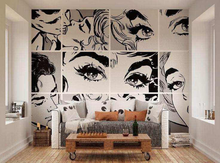 ohpopsi Black And White Pop Art Wall Mural in Home, Furniture & DIY, DIY Materials, Wallpaper | eBay