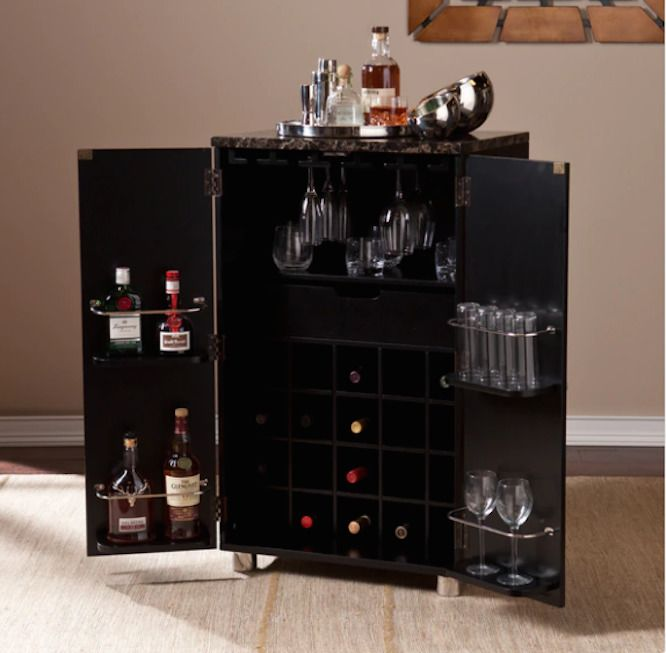 Elegant Liquor Storage Cabinet Mini Bar Hardware Brushed Nickel Wet Bar Wine Black  Pub #HB