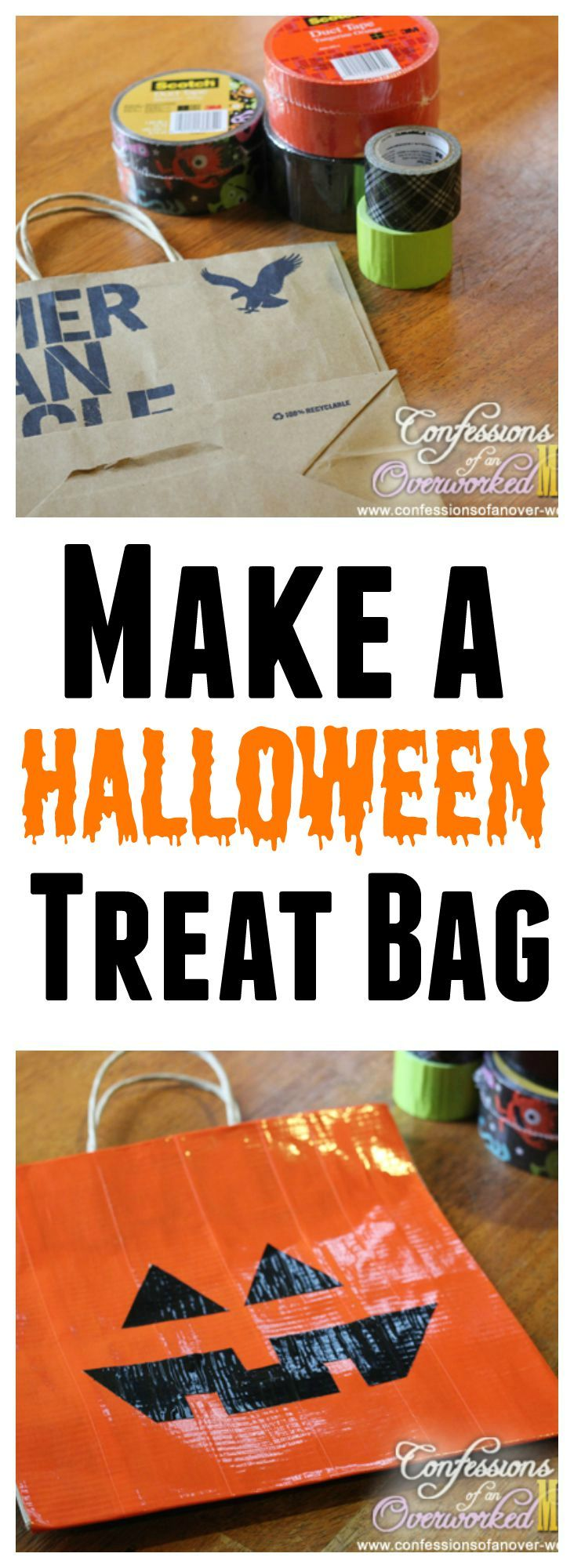 easy halloween craft make a halloween treat bag - Pinterest Halloween Treat Bags