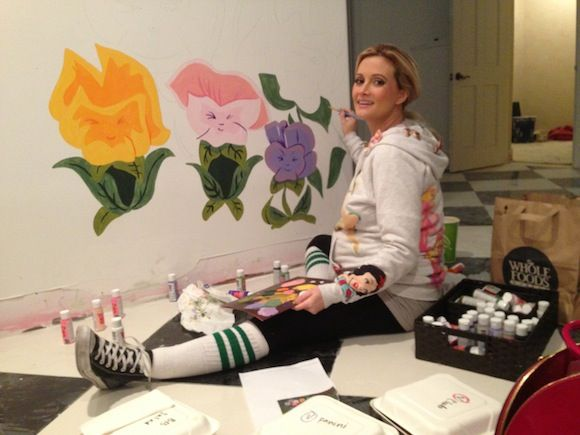 Holly Madison Painting Rainbow's Nursery Mural