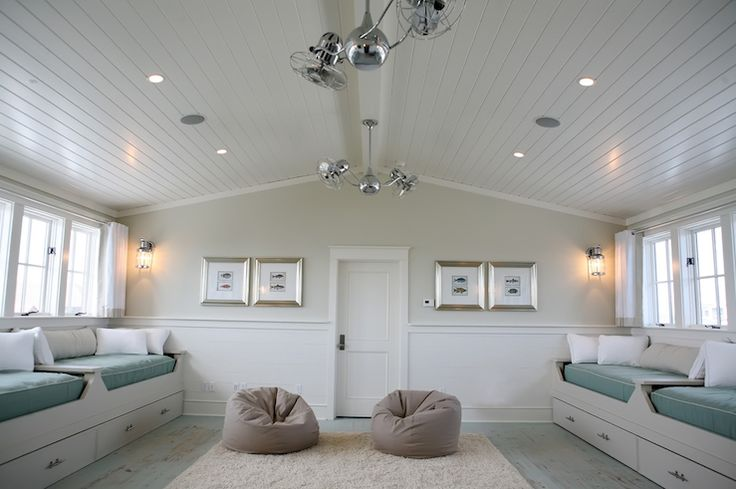 Chic Boy's Room With Beadboard Cathedral Ceiling, Chair
