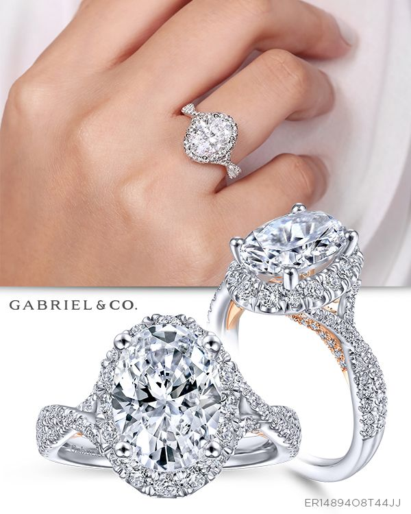 2a6e89e88240e 14k White/Rose Gold Oval Halo Diamond - ER14894O8T44JJ in 2019 ...