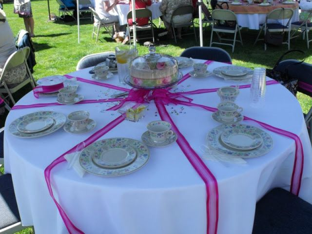 table decorations for ladies tea | Our guest speaker shared some of her life through her various stiching ...