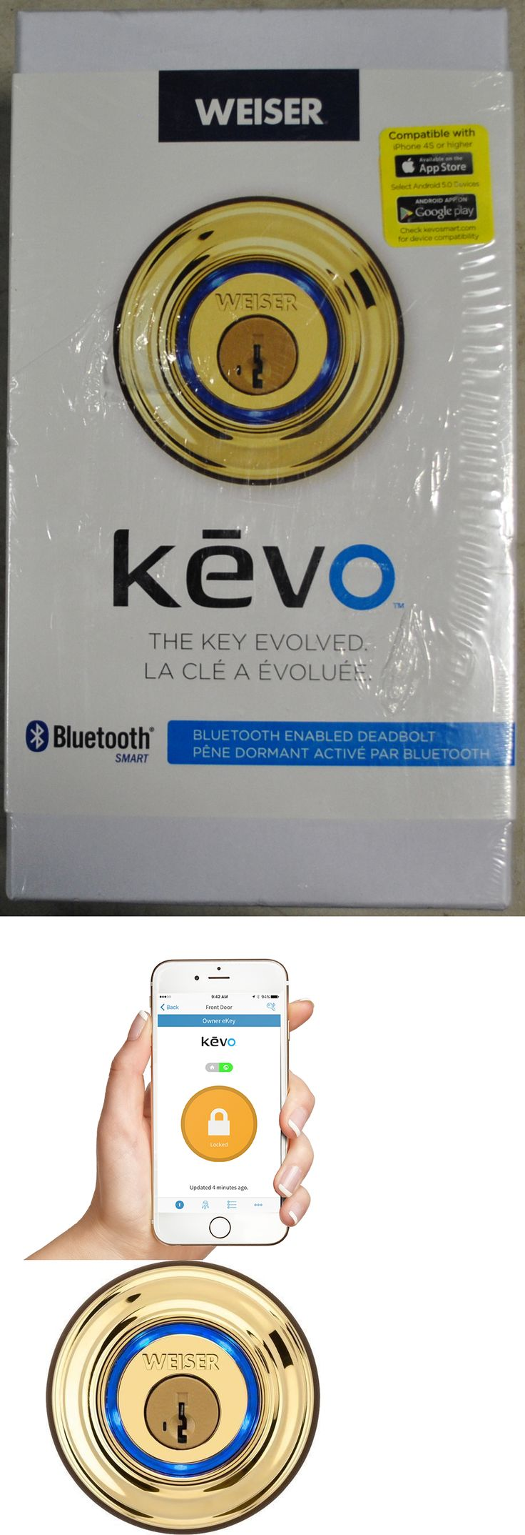 Other Portable Audio: Weiser Kevo [Polished Brass 9Ged15000-0] Enabled Deadbolt Lock Iphone Bluetooth -> BUY IT NOW ONLY: $119.99 on eBay!