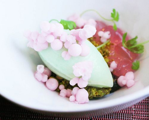 WD-50: Celery Ice Cream, Frozen Pearls en Gelee con Palm Suds & African Spiced Pistacchio Paradise
