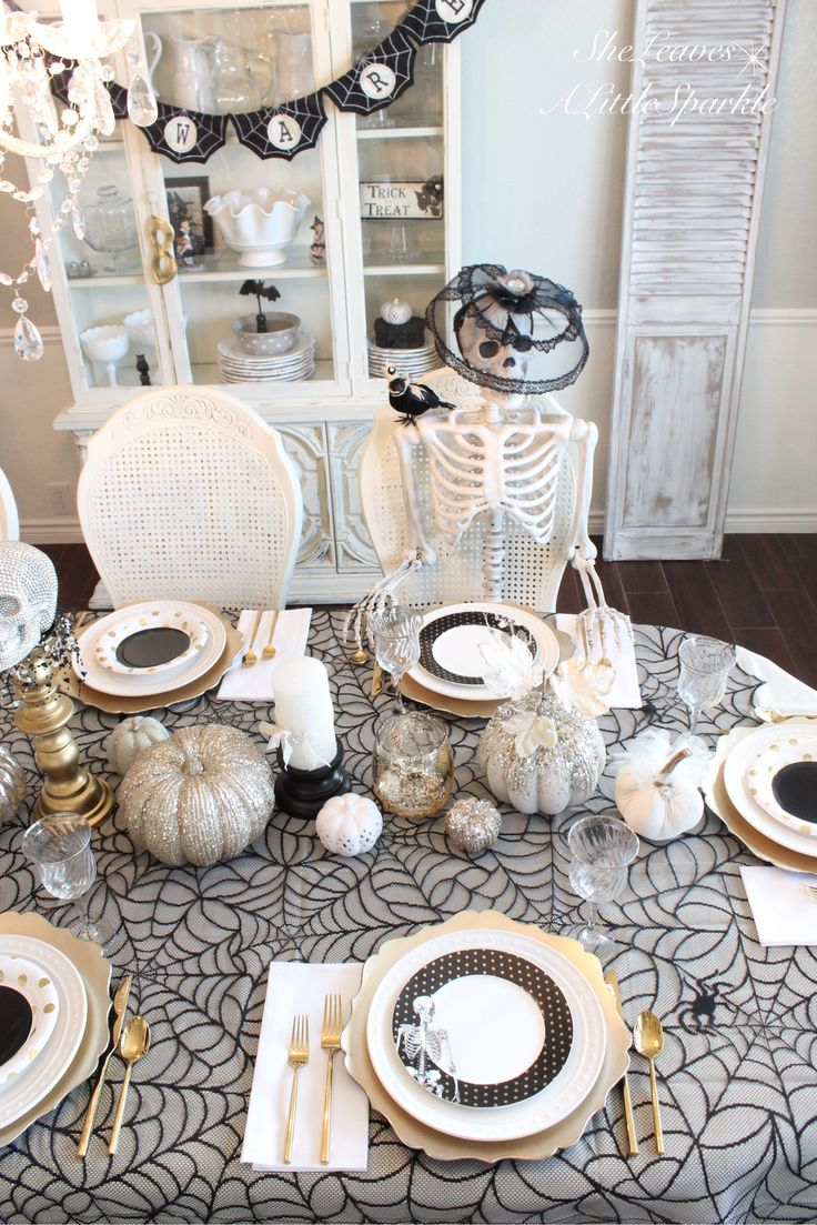 Spooky Glam Halloween Table - SheLeavesALittleSparkle  Black white gold chic elegant classy Halloween decor dining table tablescape