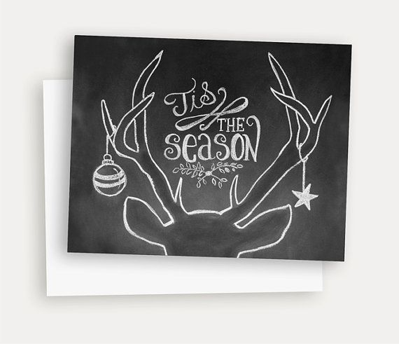 Rustic Christmas Card - Tis The Season - Christmas Chalkboard Art - Antler Illustration - Hand Lettered Christmas Card